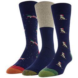 Gold Toe Mens 3-pk. Holiday Print Crew Socks