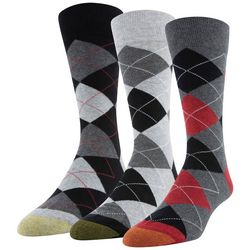 Gold Toe Mens 3-pk. Argyle Print Crew Socks