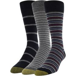 Gold Toe Mens 3-pk. Stripe Print Crew Socks