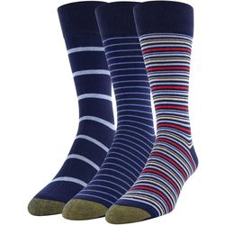Gold Toe Mens 3-pk. Stripe Print Crew Socks