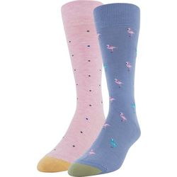 Gold Toe Mens 2-pk. Flamingo & Dot Crew Socks