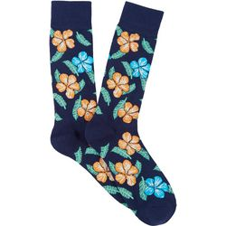 Mens Hibiscus Crew Socks