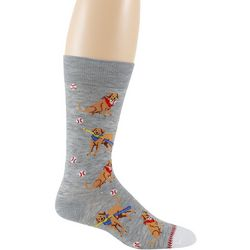 Davco Mens Baseball Dog Crew Socks