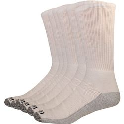 Mens 6-pk. Dri Tech White Crew Socks