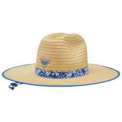 Columbia Mens PFG Blue Tropical Band Baha Straw Hat