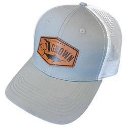 Mens Leather Marlin Trucker Snapback Hat