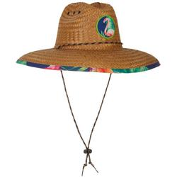 Mens Flamingo Lifeguard Straw Hat