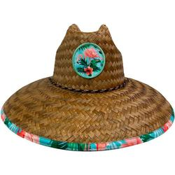 Mens Flamingo Floral Lifeguard Straw Hat