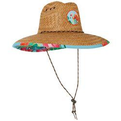 Mens Flamingo Palm Lifeguard Straw Hat