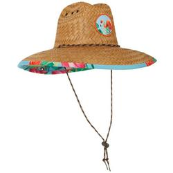 Mens Flamingo Palm Lifeguard Straw Hat