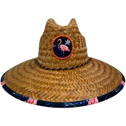 Mens Flamingo Flower Lifeguard Straw Hat