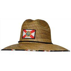 Hook and Tackle Mens Lifeguard Florida Flag Straw Hat