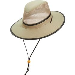 Dorfman Pacific Mens Brushed Twill Mesh Safari Hat
