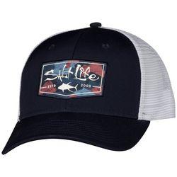 Salt Life Mens Aqua Badge Camo Fill Mesh Trucker Hat