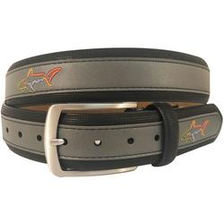 Mens Leather Logo Belt