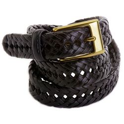 Mens Solid Braided Leather Belt