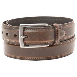Mens Big & Tall Leather Stitched Belt