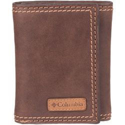 Columbia Mens Solid RFID Shield Trifold Leather Wallet