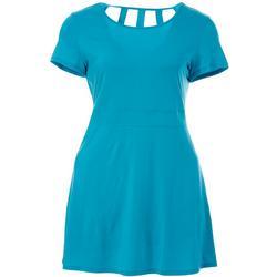 Plus Keep It Cool Cage Back Short Sleeve Dress