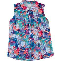 Reel Legends Plus Tropical Flowers Button Down Shirt