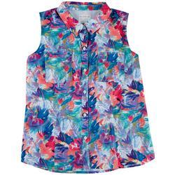 Plus Tropical Flowers Button Down Shirt