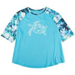 Reel Legends Plus Turtle Print Pattern Sleeve Top