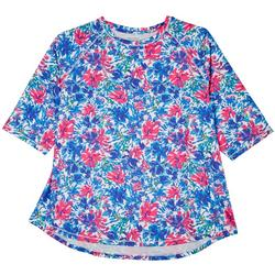 PLus Elbow Raglan Floral 3/4 Sleeve Top