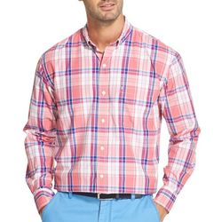 IZOD Mens Breeze Plaid Button Down Long Sleeve Shirt
