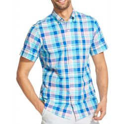 IZOD Mens Dockside Plaid Button Down Short Sleeve Shirt