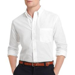 Mens Long Sleeve Solid Woven Button Down Shirt