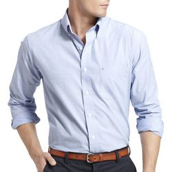 IZOD Mens Long Sleeve Solid Woven Button Down