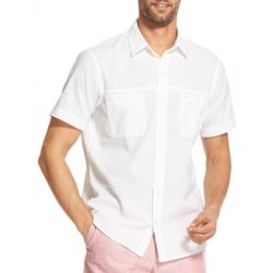 IZOD Mens Solid Short Sleeve Button Down Shirt
