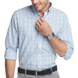 IZOD Mens Blue Plaid Advantage Long Sleeve Shirt