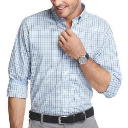 Mens Blue Plaid Advantage Long Sleeve Shirt