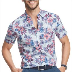 IZOD Mens Saltwater Dockside Hawaiian Short Sleeve Shirt