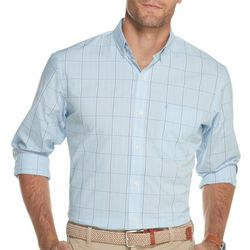 IZOD Mens Premium Essentials Glen Plaid Button Down