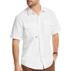 IZOD Mens Saltwater Solid Beach Ready Short Sleeve Shirt