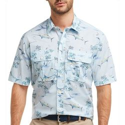 IZOD Mens Saltwater Island Fish Short Sleeve Shirt