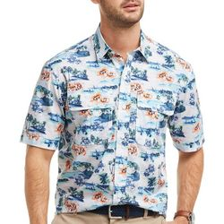 IZOD Mens Saltwater Floral Beach Short Sleeve Shirt