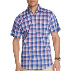 IZOD Mens Advantage Plaid Buttoned Down Short Sleeve Shirt
