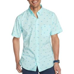 IZOD Mens Advantage Dog Print Short Sleeve Shirt