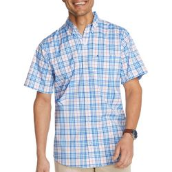 IZOD Mens Advantage Plaid Woven Short Sleeve Shirt