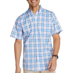 Mens Advantage Plaid Woven Short Sleeve Shirt
