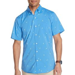 IZOD Mens Advantage Margarita Print Short Sleeve Shirt