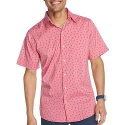 Mens Advantage Palm Print Short Sleeve Shirt