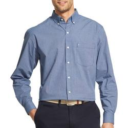 Mens Mini Gingham Button Up Long Sleeve Shirt