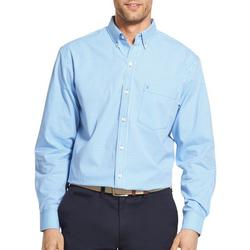 Mens Gingham Button Up Long Sleeve Shirt