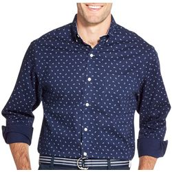 IZOD Mens Poplin Paisley Button Down Long Sleeve Shirt