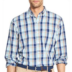 IZOD Mens Plaid Oxford Button Down Long Sleeve Shirt