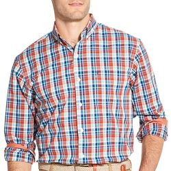 IZOD Mens Premium Essentials Plaid Button Down Shirt